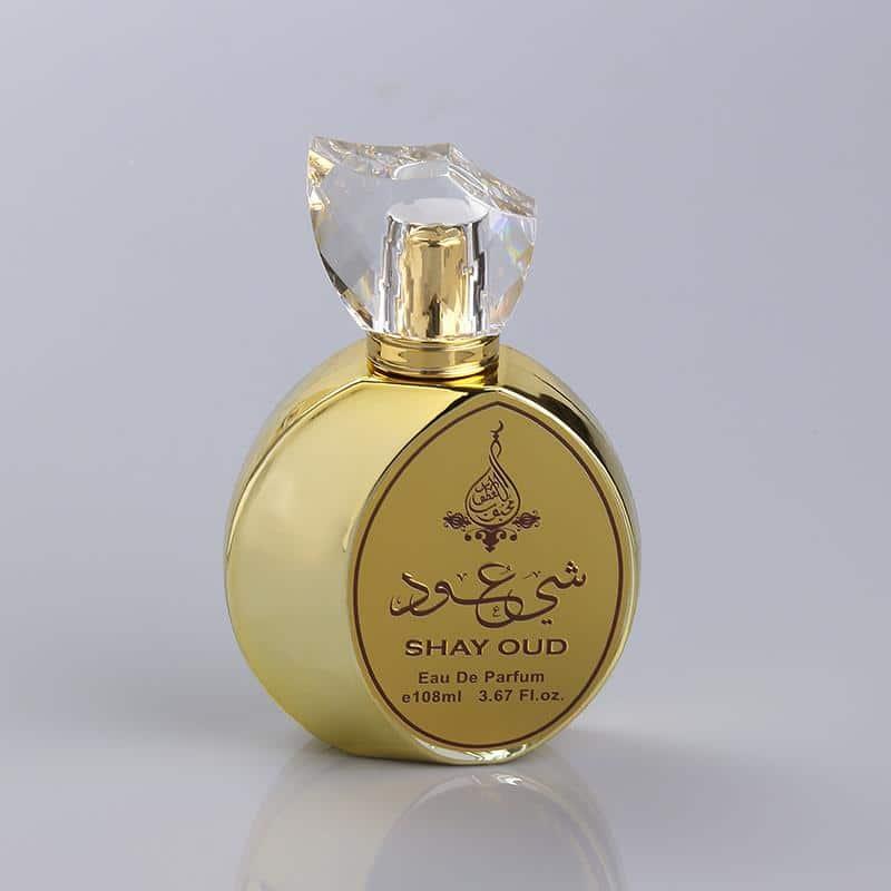 UV Coating Hot Stamping Round Shape Gold Perfume Bottle